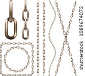 set of realistic  brown metal... | Shutterstock .eps vector #1089674072
