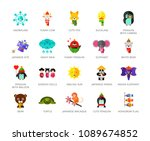 toys characters icons set with... | Shutterstock .eps vector #1089674852