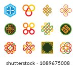 pattern icon set. hexagon... | Shutterstock .eps vector #1089675008