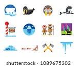 north pole icon set. polar... | Shutterstock .eps vector #1089675302