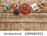 Stock photo cat s accessories and food on wooden background 1089682502