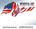text memorial day on american... | Shutterstock .eps vector #1089690026