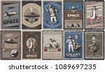 vintage colored space posters... | Shutterstock .eps vector #1089697235