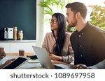 business colleagues talking... | Shutterstock . vector #1089697958