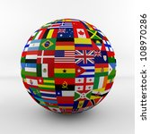 flag globe with different... | Shutterstock . vector #108970286
