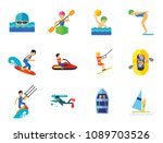 water sport icon set.... | Shutterstock .eps vector #1089703526