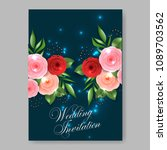 invitation or wedding card with ... | Shutterstock .eps vector #1089703562