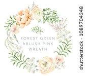 forest green leaves blush pink... | Shutterstock .eps vector #1089704348