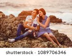mom  dad and son. the family... | Shutterstock . vector #1089706346