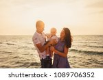 mom  dad and son. the family... | Shutterstock . vector #1089706352