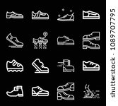 outline set of 16 shoe icons... | Shutterstock .eps vector #1089707795