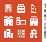 filled set of 9 apartment icons ... | Shutterstock .eps vector #1089707966