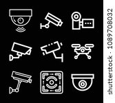 outline set of 9 camera icons... | Shutterstock .eps vector #1089708032