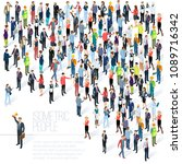 people crowd. isometric vector... | Shutterstock .eps vector #1089716342