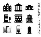 filled set of 9 building icons... | Shutterstock .eps vector #1089721988