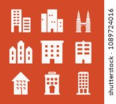 filled set of 9 apartment icons ... | Shutterstock .eps vector #1089724016