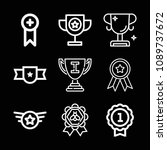 outline set of 9 award icons... | Shutterstock .eps vector #1089737672