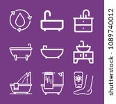 outline bathroom icon set such... | Shutterstock .eps vector #1089740012