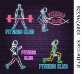 set of neon fitness club sign... | Shutterstock .eps vector #1089746528