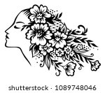 stylized head of young... | Shutterstock .eps vector #1089748046