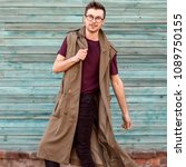 fashion guy in glasses poses... | Shutterstock . vector #1089750155