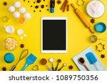 kitchen baking tablet mobile... | Shutterstock . vector #1089750356