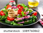 salad with fresh and grilled... | Shutterstock . vector #1089760862