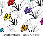 drawing of flowers | Shutterstock . vector #1089774548