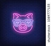cute cartoon pink pig in... | Shutterstock .eps vector #1089777155