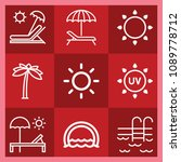 summer related set of 9 icons... | Shutterstock .eps vector #1089778712