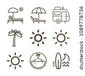 summer related set of 9 icons... | Shutterstock .eps vector #1089778736