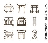 Stock vector monuments related set of icons such as university shinto shrine japanese gate 1089783692