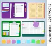 set of agenda notebooks. flat... | Shutterstock .eps vector #1089793742