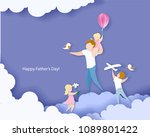 handsome man with his children. ... | Shutterstock .eps vector #1089801422