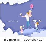 handsome man with his children. ... | Shutterstock .eps vector #1089801422