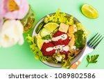 vegan buddha bowl with beetroot ... | Shutterstock . vector #1089802586