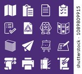set of 16 paper filled icons... | Shutterstock .eps vector #1089809915