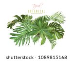 vector tropical leaves... | Shutterstock .eps vector #1089815168