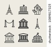 set of 9 monument outline icons ...   Shutterstock .eps vector #1089817325