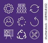 set of 9 circle outline icons...   Shutterstock .eps vector #1089818102