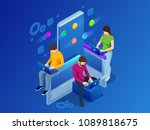isometric mobile applications... | Shutterstock .eps vector #1089818675