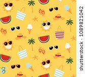 colorful seamless summer... | Shutterstock .eps vector #1089821042