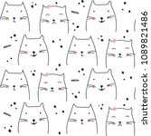 cute cat seamless pattern design | Shutterstock .eps vector #1089821486
