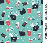 movie themed seamless pattern   ... | Shutterstock .eps vector #1089821522