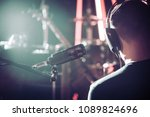 person with headphones and... | Shutterstock . vector #1089824696