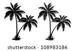 Tropical Palm Trees  Black...