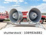 pair of big retro loudspeakers... | Shutterstock . vector #1089836882