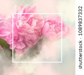 pink peony flowers square gift... | Shutterstock . vector #1089837332