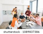 colleagues are applauding their ... | Shutterstock . vector #1089837386