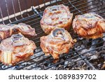 peaces of mutton preparing on a ... | Shutterstock . vector #1089839702